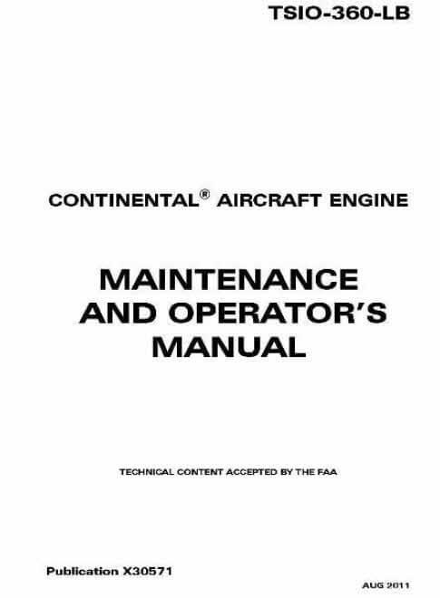 Continental Maintenance and Operators Manual TSIO-360 LB X30571
