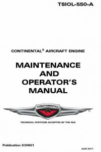 Continental Maintenance and Operators Manual TSIOL-550-A X30601