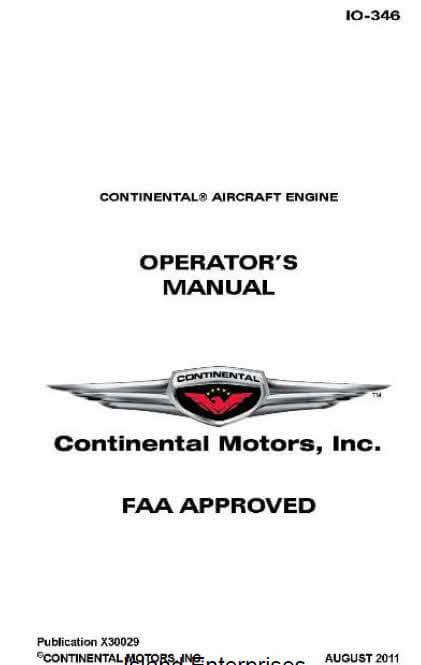 Continental Operators Manual 10-346 X30029