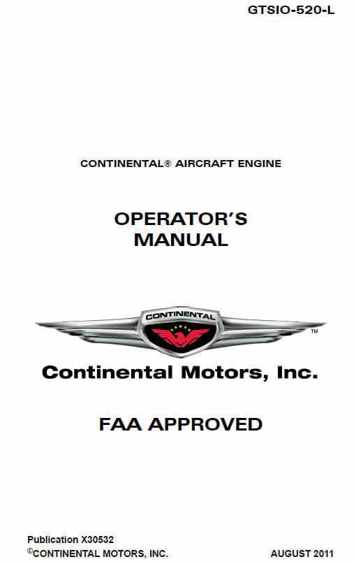 Continental Operators Manual GTSIO-520-L X30532