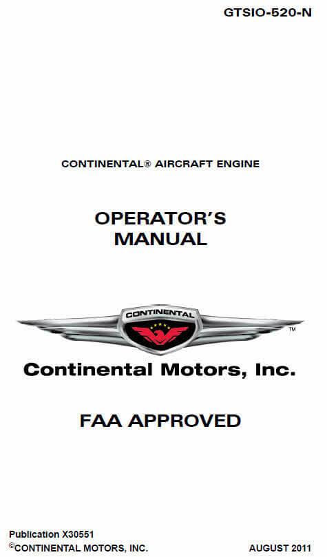 Continental Operators Manual X-30551 GTSIO-520-N