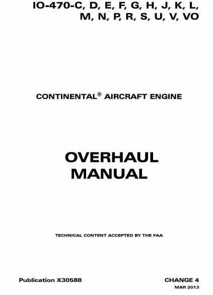 Teledyne Continental Motors Overhaul Manual IO-470 X30588