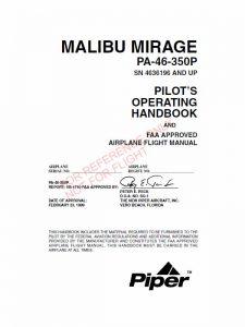 Piper Malibu Mirage Pa 46 350p POH Flight Manual